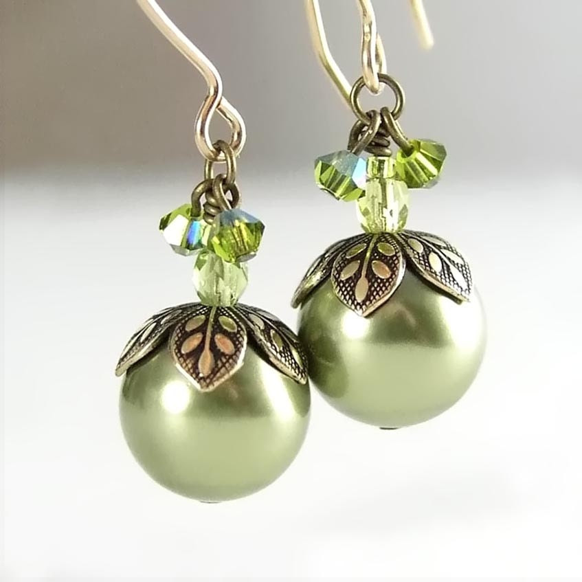 Green Pearl Earrings Swarovski Green Crystal Pearl Earring Antique Gold Leaf Earrings Fern Forest Berry - DorotaJewelry