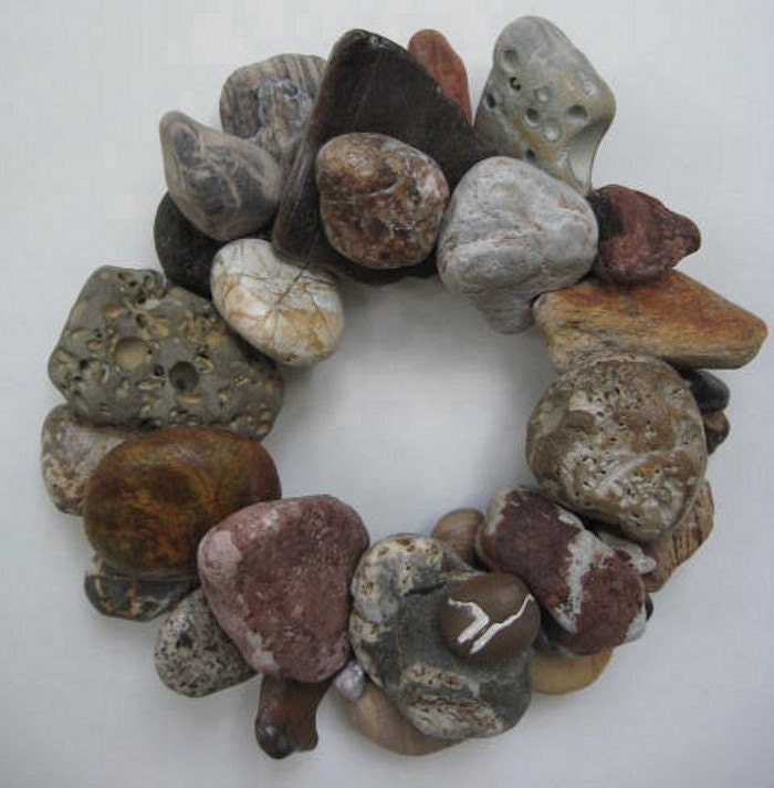 Earth Tone Rock Wreath or Candle Ring (RW159) - BeacheryDesigns