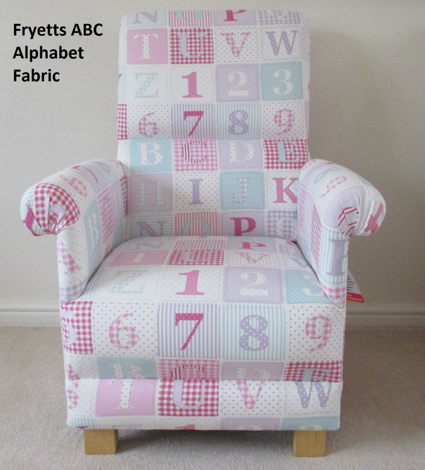 Fryetts Alphabet Pink Fabric Adult Chair Nursery ABC Patchwork Green Gingham Bedroom Shabby Chic Bespoke Handcrafted