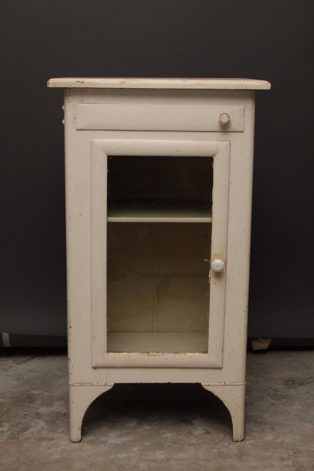 Vintage Medal Medicine Cabinet W Glass Door And By