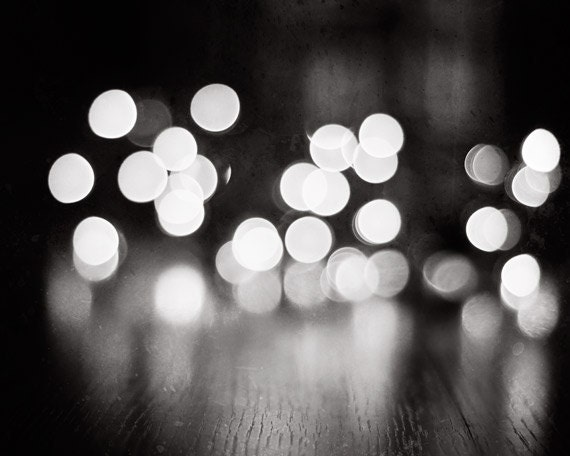 "Bokeh Photograph, black white lights dark grey sparkle photo gray neutral print sparkly decor modern photograph, ""Illuminating the Night"" - CarolynCochrane"