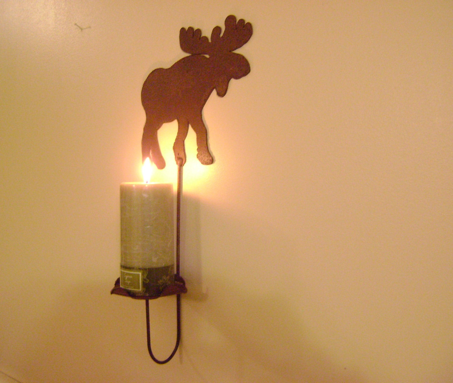Tin Wall Sconce Candle Holder : Primitive Metal Moose Wall Sconce Candle by northwindmetalart