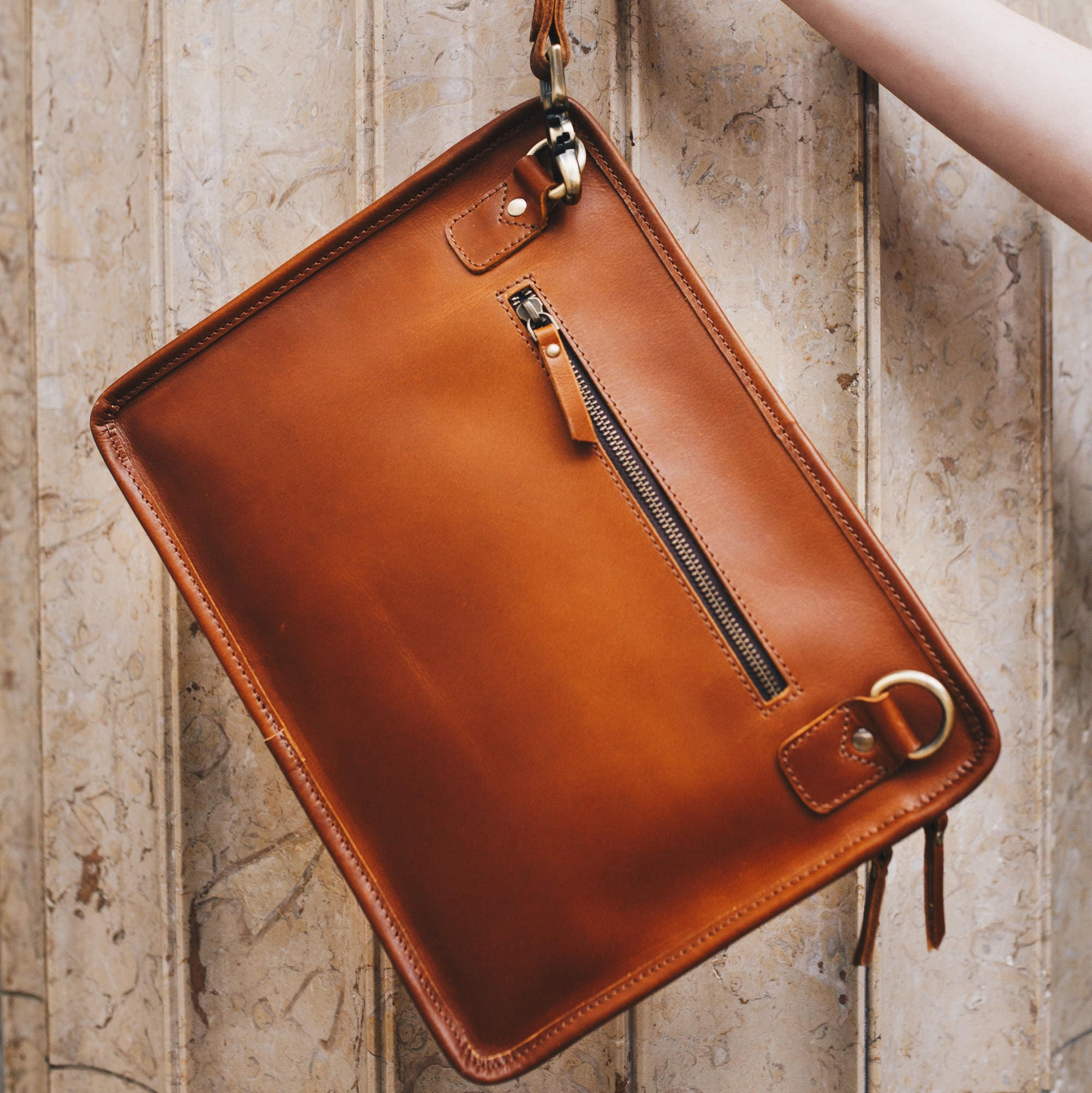 Leather iPad bag Macbook case A4 leather Folio bag with wrist and shoulder strap  Niche Lane iPouch Pro Tan