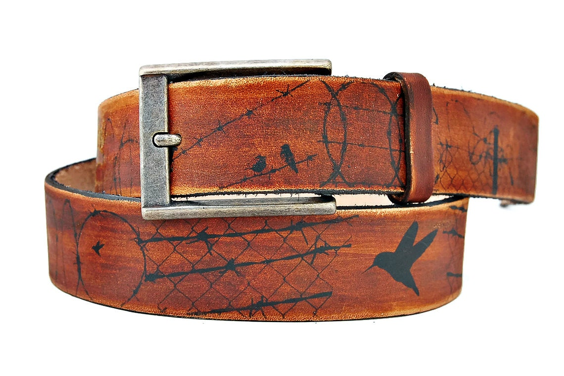 items similar to leather belt bird barbed wire