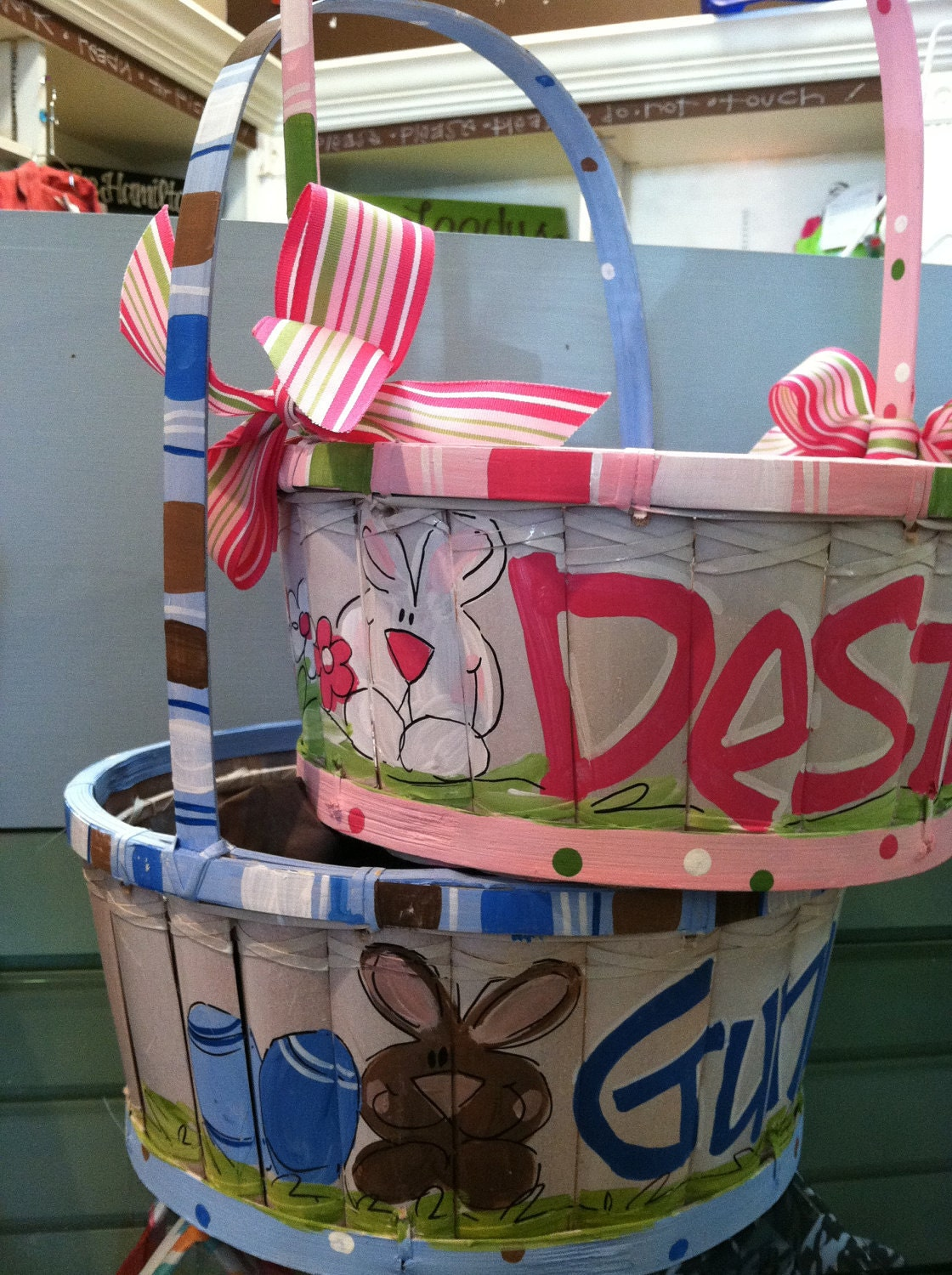 Personalized easter baskets personalized hand painted by - Custom made easter baskets ...