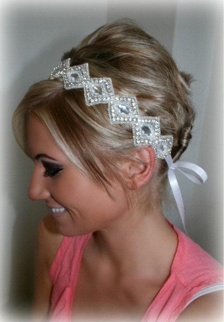 Rhinestone Ribbon Headband, ALAYNA, diamond rhinestone, Wedding