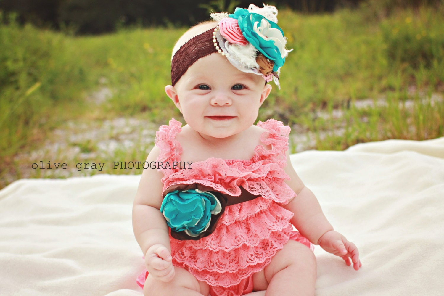 Fall Lace Romper-Couture Baby Outfit-Ruffle Romper-Lace Petti Romper-Cake Smash Outfit-1st Birthday Outfit-Flower Girl-Photo Prop - AvryCoutureCreations