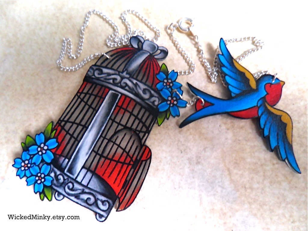 Vintage Americana Tattoo Style Birdcage Necklace by ... - photo#34