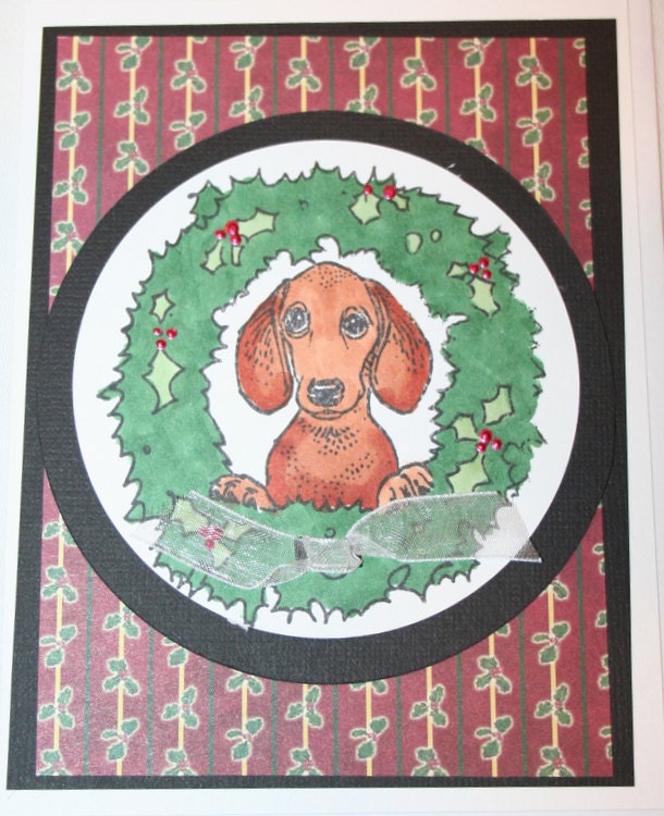 Dachshund Christmas Holiday Greeting Card Wreath Dog Rescue - ArtfulPaws