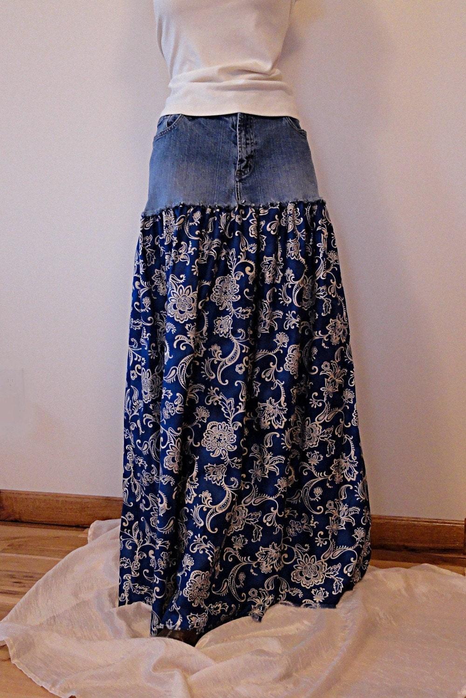 denim paisley long skirt upcycled long denim by denimdiva2day. Black Bedroom Furniture Sets. Home Design Ideas