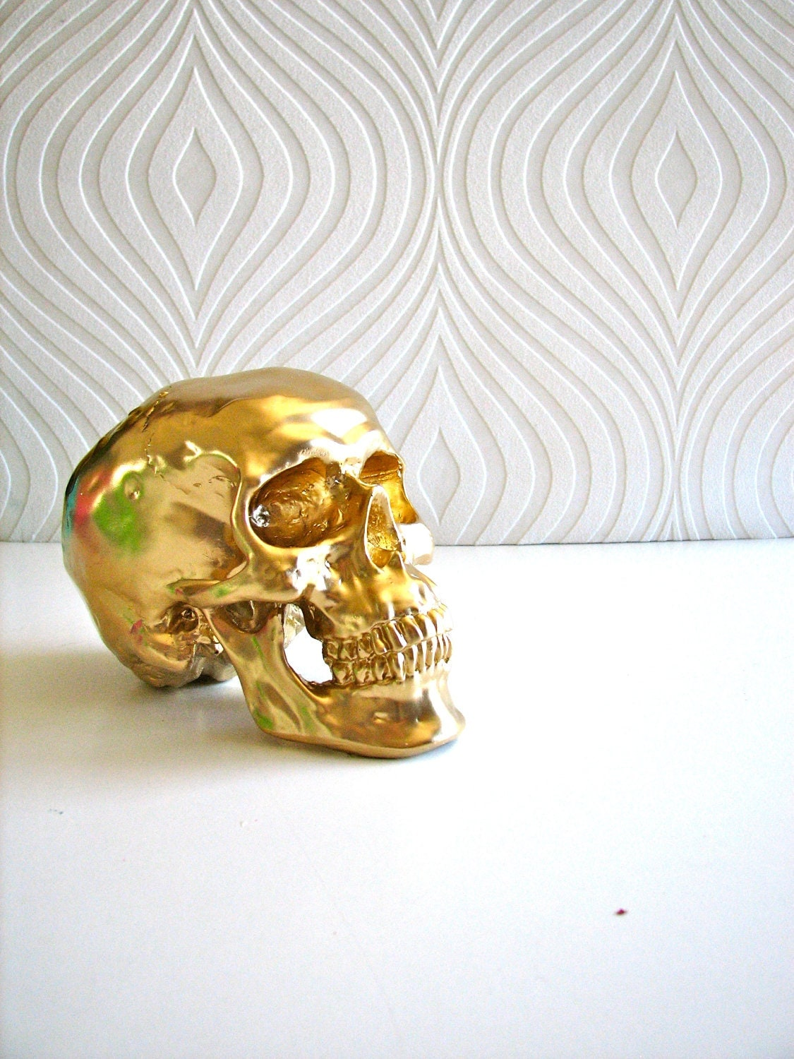 Halloween Skull Head in gold: Mr. Smiley