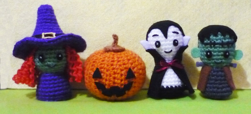 Halloween Pumpkin Amigurumi : Items similar to Crochet Amigurumi Halloween Decoration ...