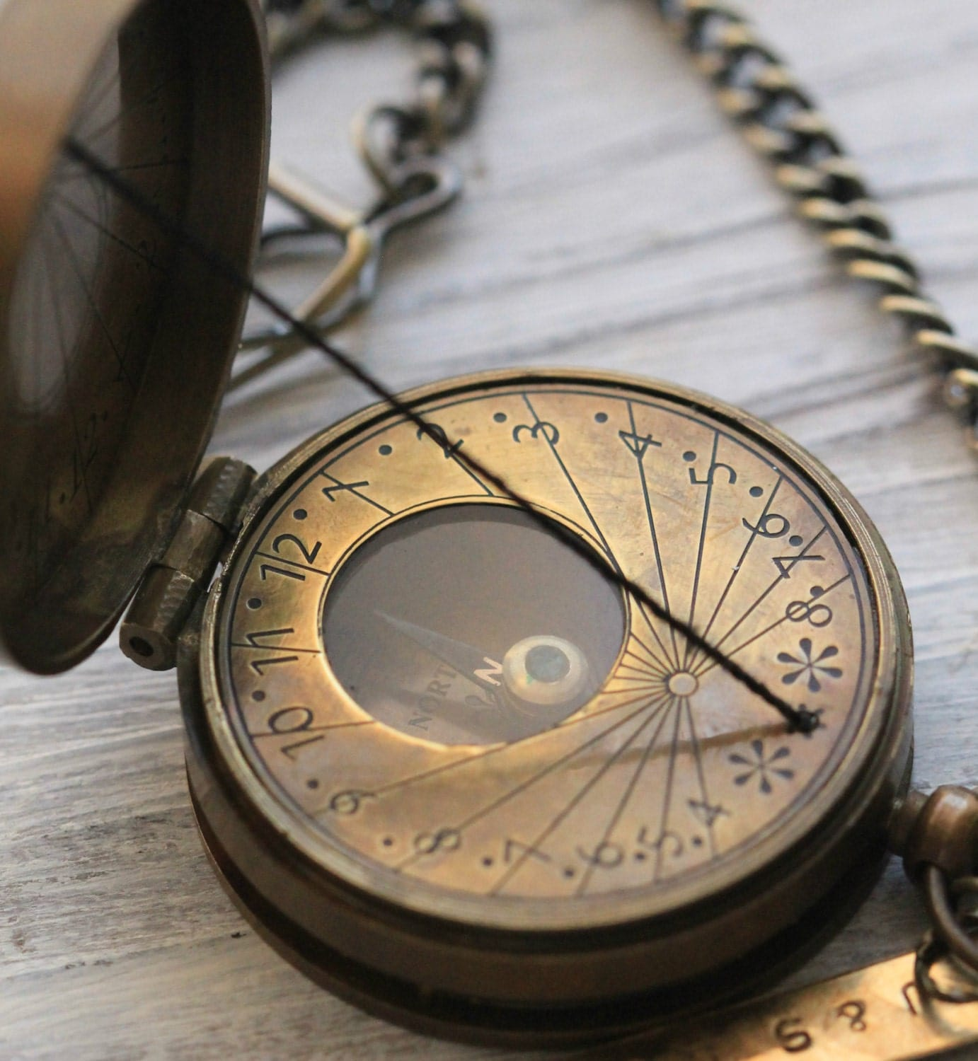 Antique Nautical Brass Pocket String Sundial Compass Necklace For Both ...