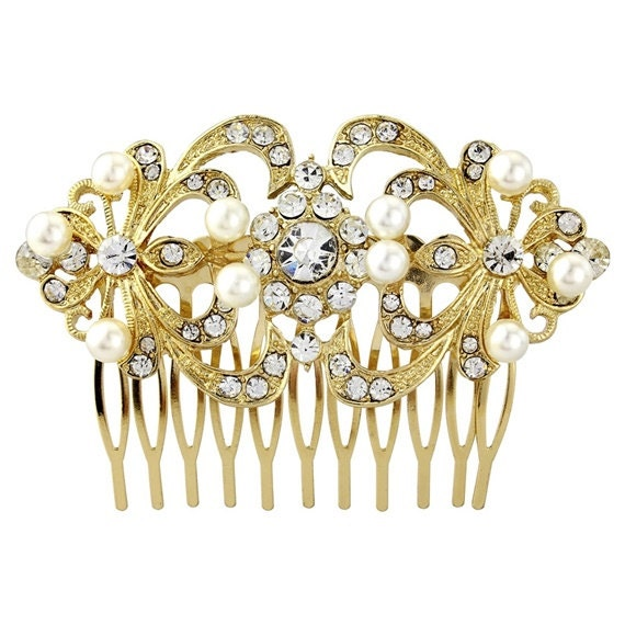 Crystal Vintage Pearl Bridal Hair Combslide golden  bridal hair piece  vintage hair bridal glamour bridal accessories