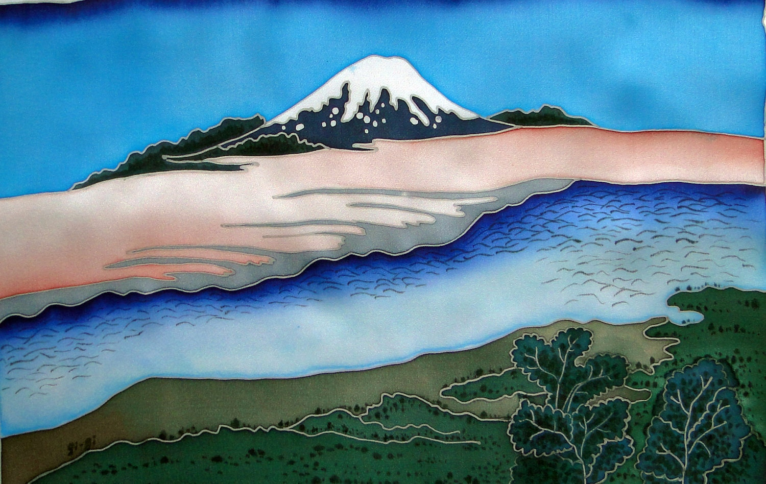Painting on Pure Silk - RIVER - Cold batik. Japanese landscape. MADE to order - SilkNPaper