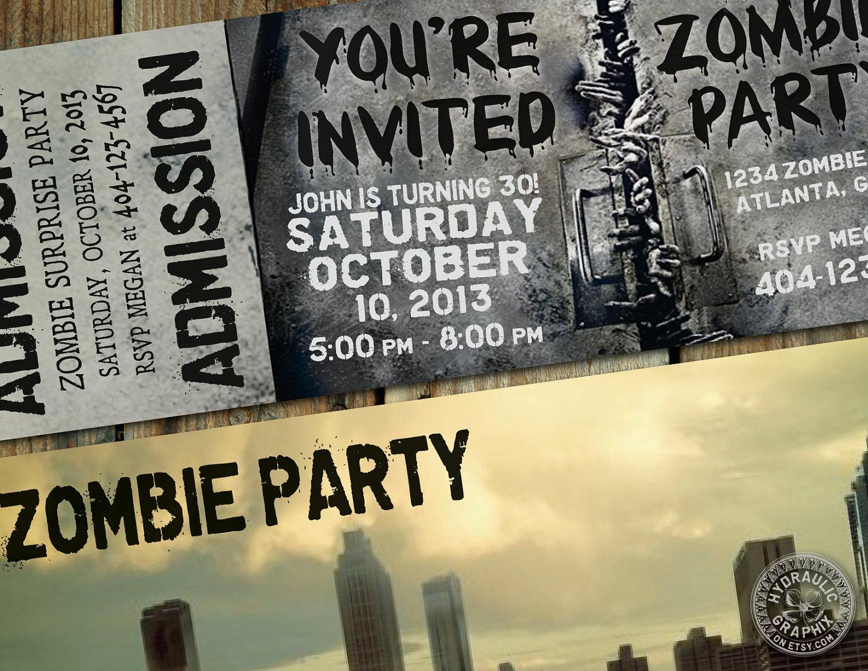 Walking dead theme birthday invitations the walking dead party theme invitation ticket by walking dead zombie birthday filmwisefo