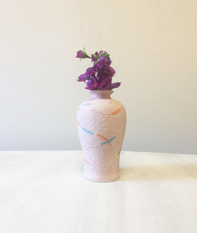 Vintage pottery vase pink pottery vase vintage vase pink vase mid century vase ceramic vase colourful vase flower vase pink bud vase