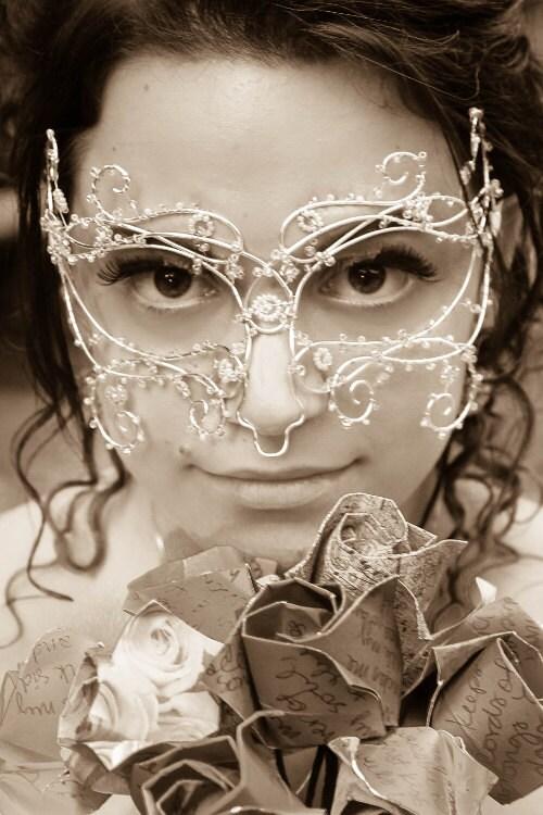 Silver vine masquerade mask, weddings, bridal accessories,handmade