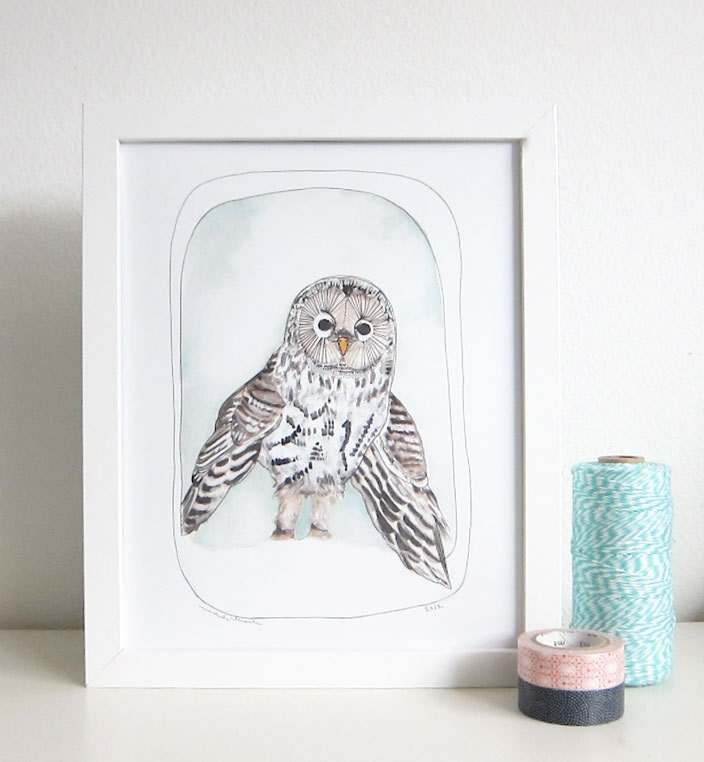 Owl Art Illustration Print 8x10 Print - Owly - michelemaule