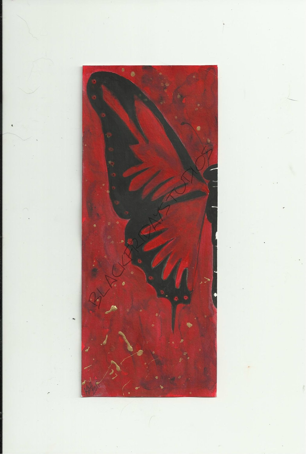 Art Print of Original Acrylic Painting Red Butterfly