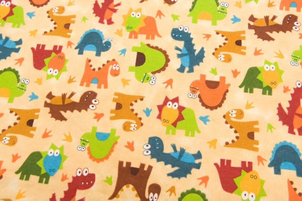Dinosaur dinosaur cotton flannel fabric 2 by for Baby dinosaur fabric