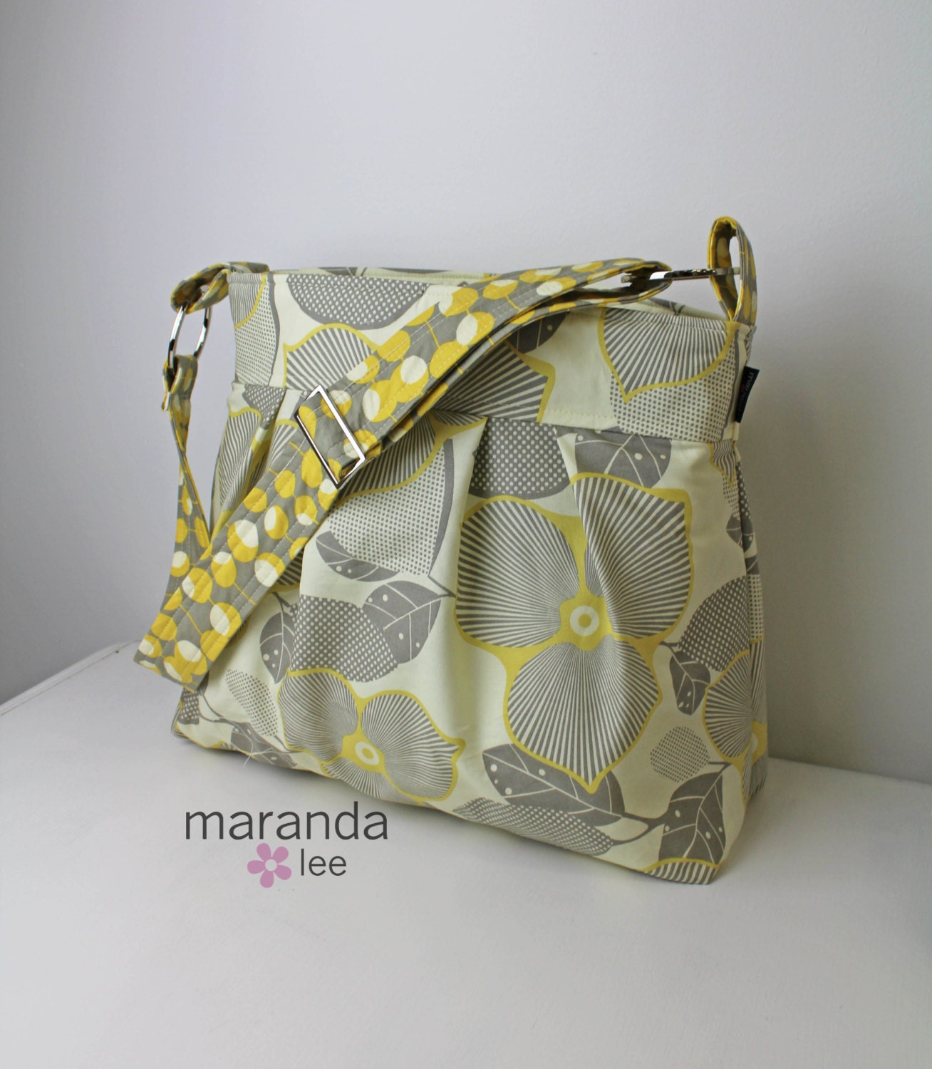 Emma XL Diaper Bag Optic Blossom Grey Yellow by marandalee