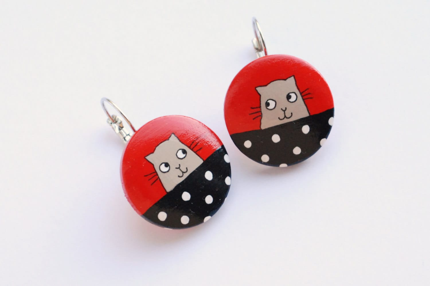 RED cat earrings hand painted wood - fineDollyLolly