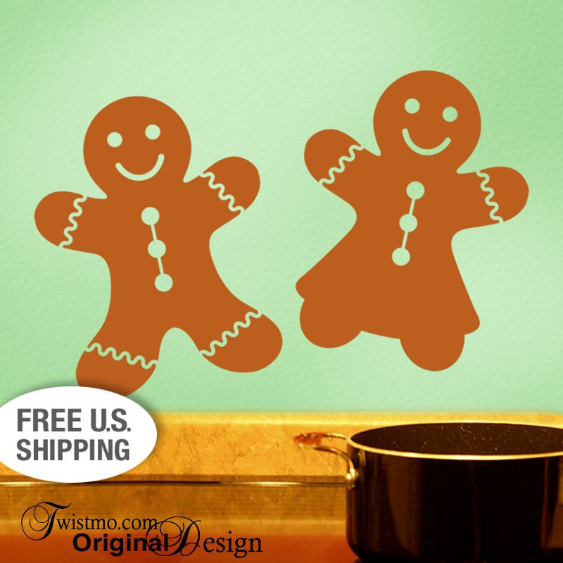 gingerbread decor 4 cookie kitchen wall decals vinyl by