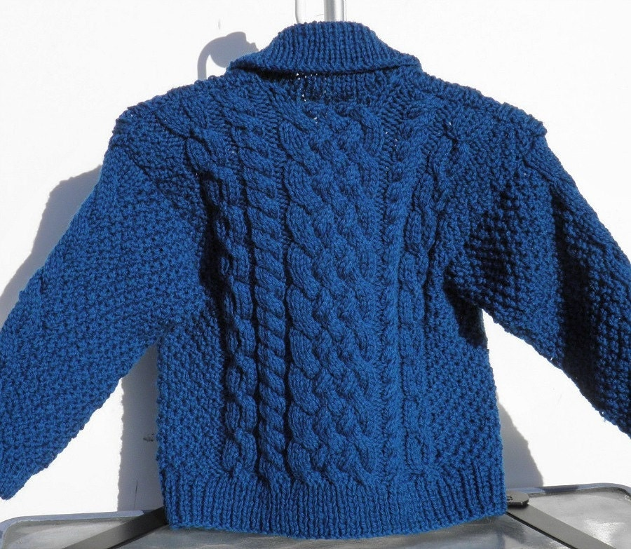 Hand Knit Fisherman Turquoise Baby Sweater Size 18 Months - BabywearbyBabs
