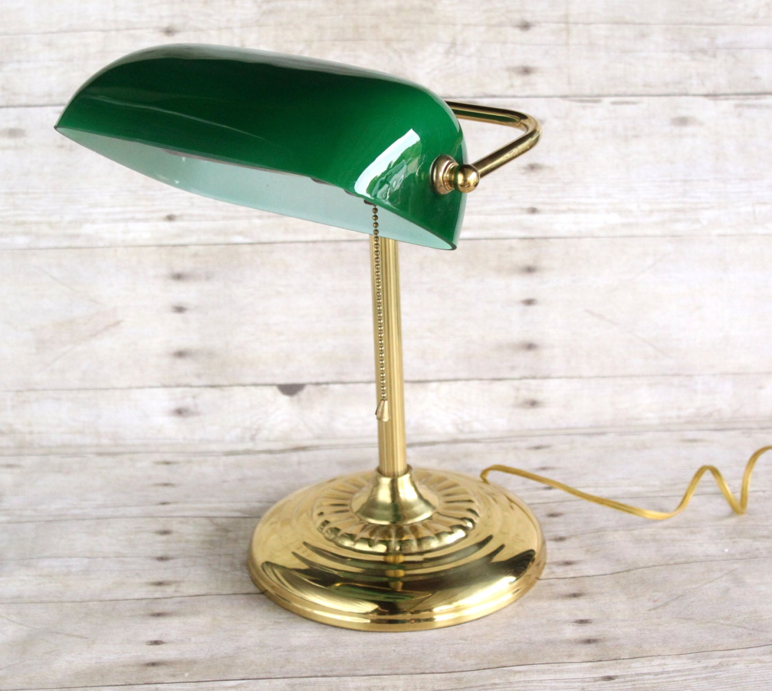 Vintage Green Glass Dome Banker S Lamp By Phoebestreasurechest