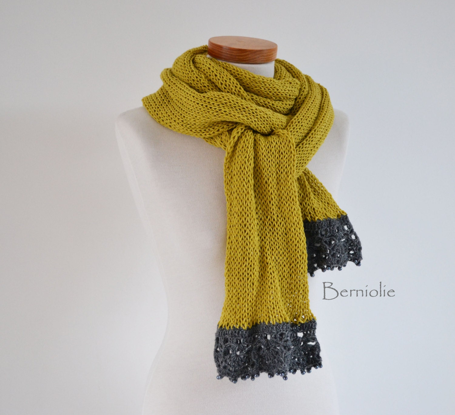 knitted scarf mustard yellow with grey lace trim and by