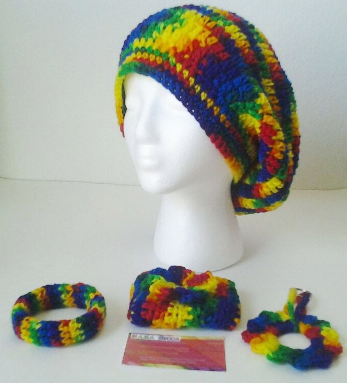 Crocheted Set Slouchy Beret/Hat,Bangle Bracelet,Business Card Holder,& KeyChain Set-Rainbow/Tie DyeTeen/Adult Size Large - mamabecca73- Etsy