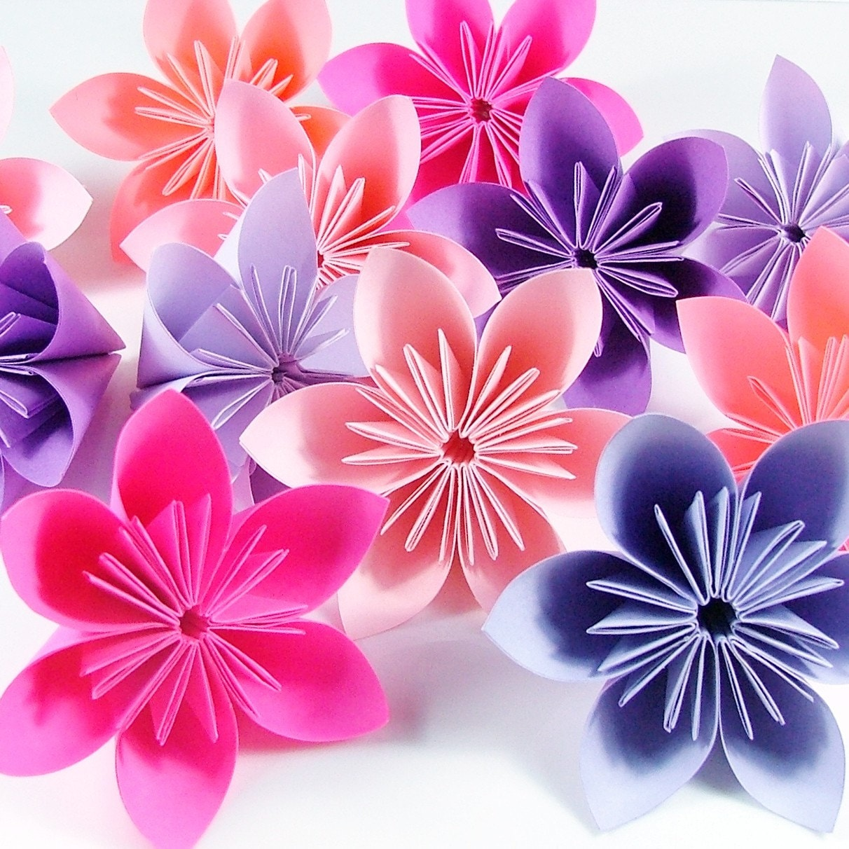 Origami Flowers 20pcs Purple And Pink By Justpatchshop On Etsy