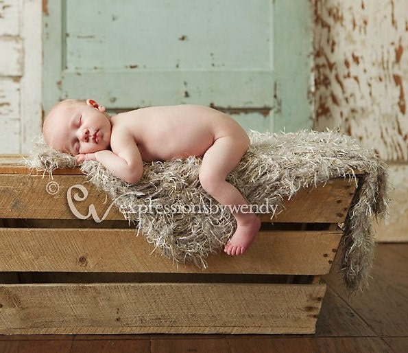 Neutral Baby Blanket Newborn Photography Prop. Fur By