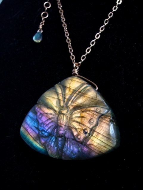Beautiful Labradorite Carved Butterfly Rose Gold Chain Necklace - LoveGrowsEverything
