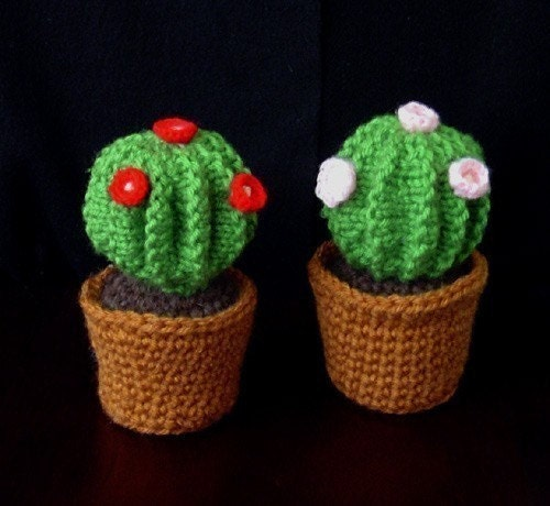 Free Crochet Pattern For Cactus : Pattern for cute knitted barrel cactus in by CathyrenDesigns