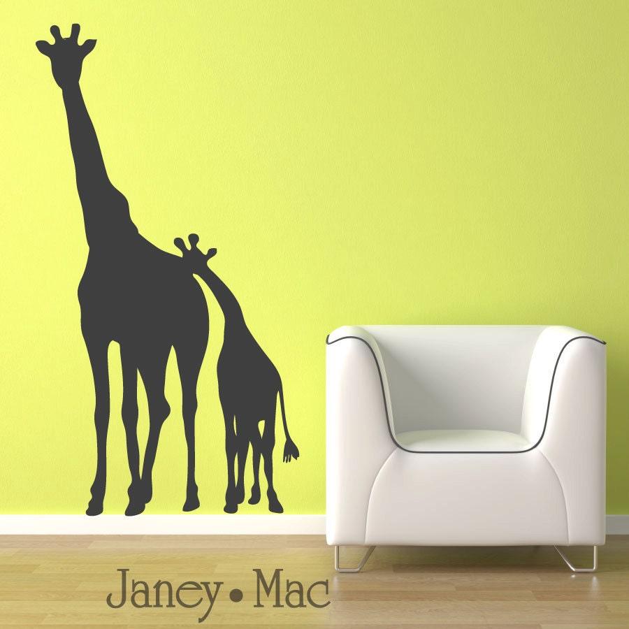 Giraffe Wall Decal - Mom and Baby Children's Bedroom Nursery - Jungle Safari Sticker Room Decor - CA101B