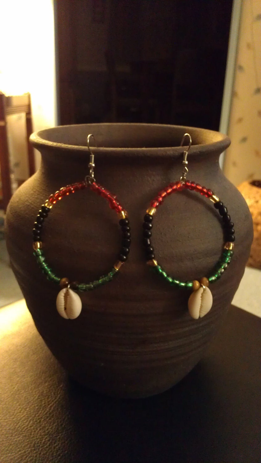 """Red, Black, Green, Yellow, and Tiger Eye Beaded Hoop Earrings with Cowrie Shells : """"Pride"""""""