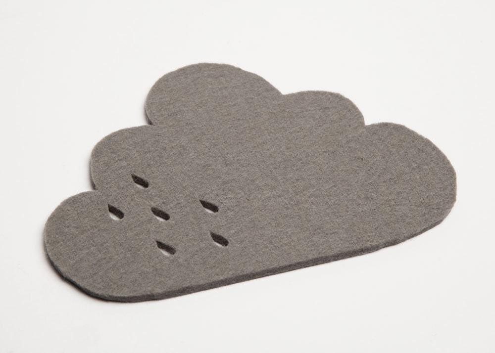 Cloud Felt Coaster with punched rain detail - grey 100% 3mm wool felt - pygmycloud