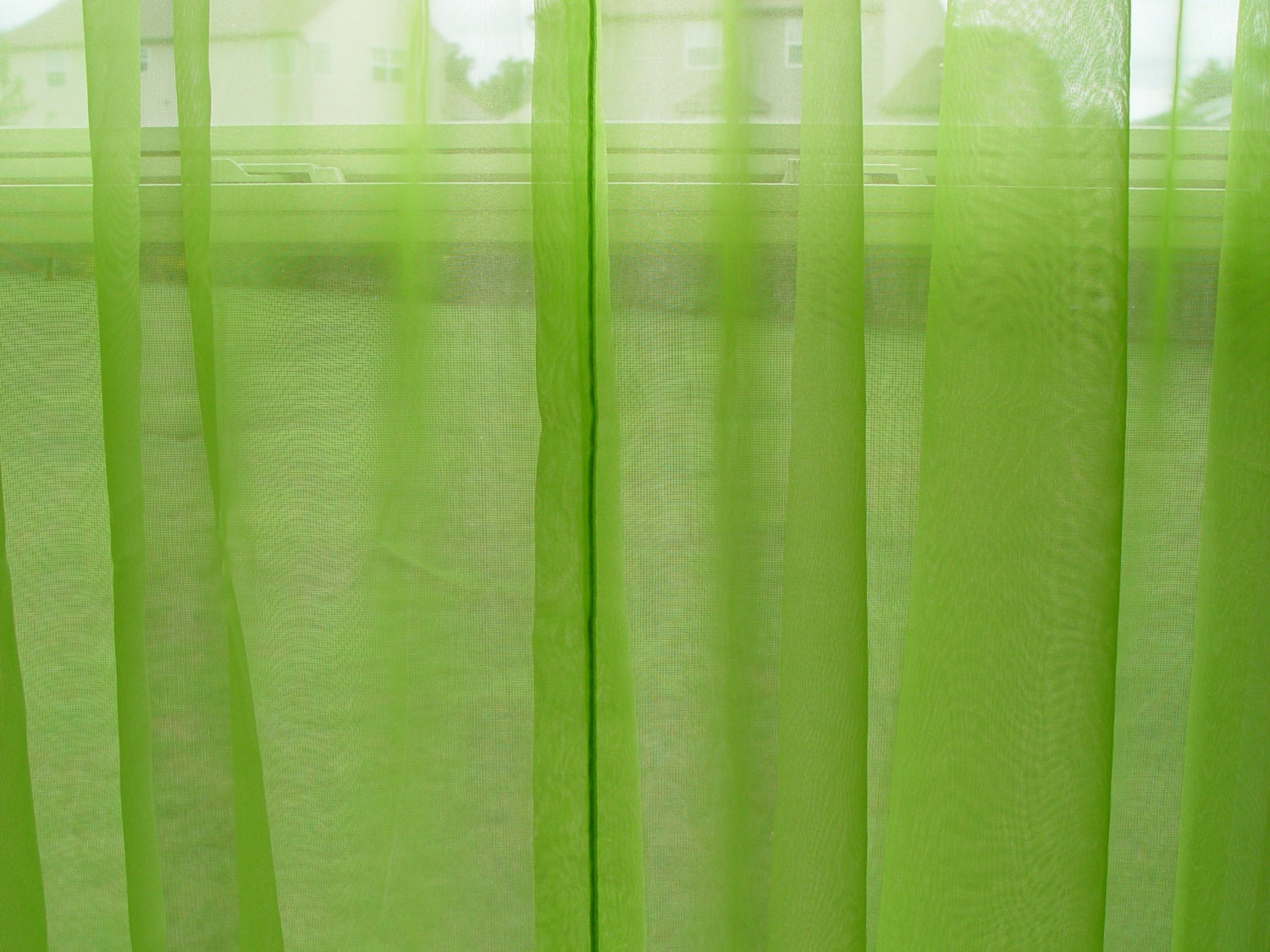 Vintage Pair Of Lime Green Sheer Curtain Panels By