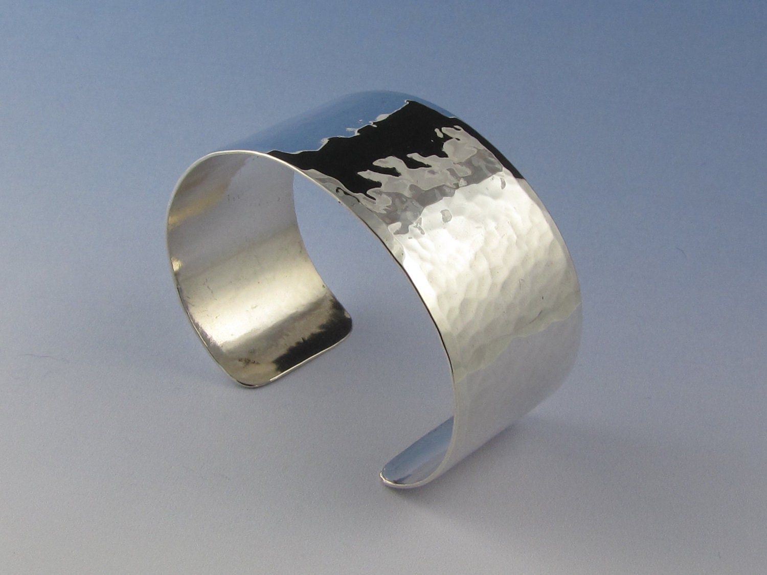 Hammered Cuff Bracelet - Sterling Silver - PeggieCalameJewelry