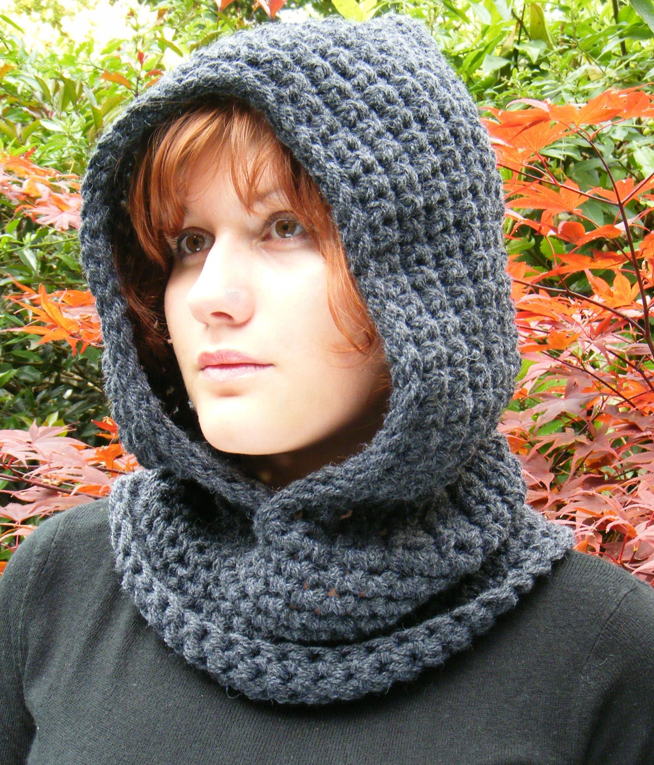 Crochet Pattern Free Hooded Cowl : Crochet Hooded Cowl in Chunky Dark Grey by Corcra on Etsy