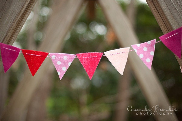 SALE Pink Polka Dot and Glitter Felt Bunting Garland - AFeltAffair