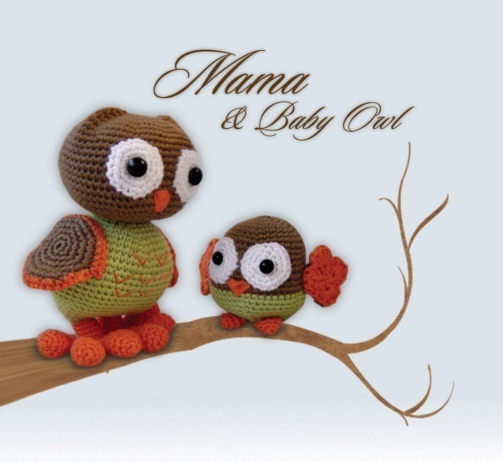 Amigurumi Mama and Baby Owl Pattern by pepika on Etsy