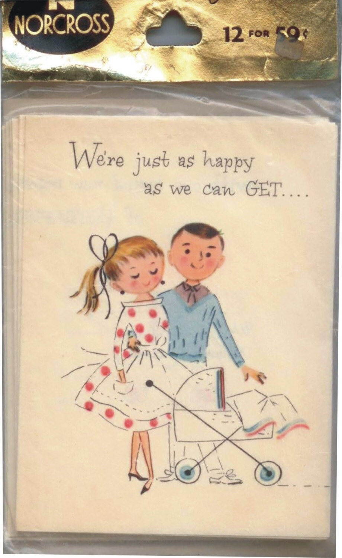 1950 u0026 39 s original vintage baby birth announcement by pwolfe1