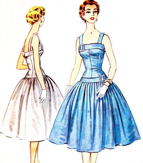 1950s Evening Dress Pattern McCalls 3185 Sleeveless Drop Waist Evening Gown Full Skirt Back Button Bodice Vintage Sewing Pattern Bust 32