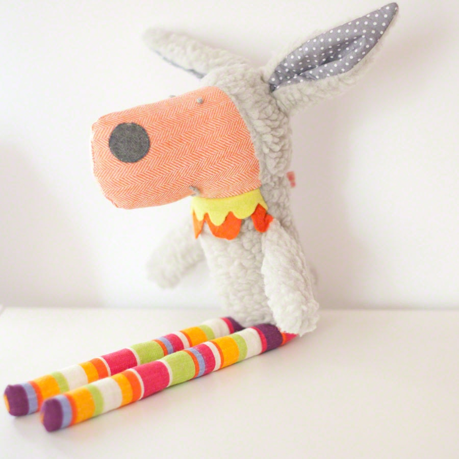 Laura the sheep soft toy - gray with striped legs - PinkNounou