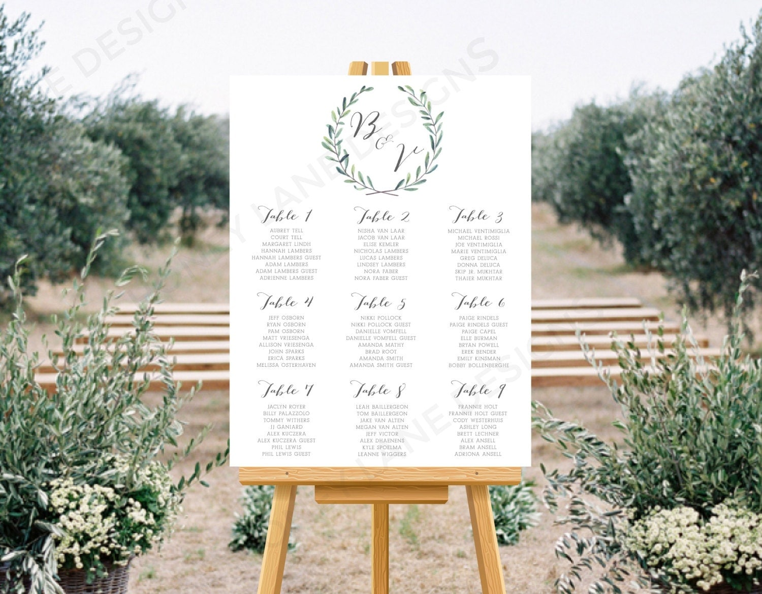 Personalised Printable Wedding Seating Chart Wedding Table Plan  Bethany Wreath Collection