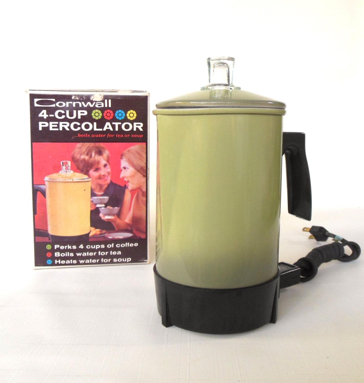 Green Kitchen Travels: Travel Percolator Hot Pot 1960s Avocado Green By
