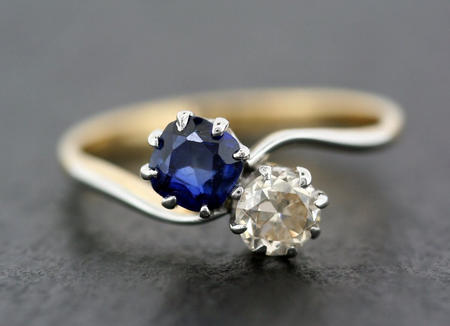Antique Engagement Ring  Edwardian Two Stone Twist Sapphire  Diamond Engagement Ring  Sapphire Engagement Ring
